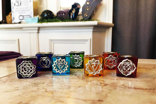 Chakra Mini Candle Holder Set (With or Without Matching Mini Candles)