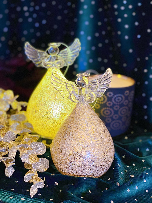 Light Up Glittery Glass Angel Ornament/Decor Item