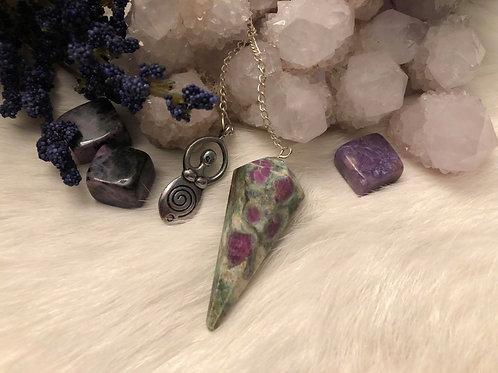 Ruby Zoisite Moon Goddess Pendulum