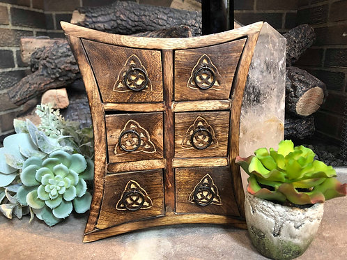 Celtic Carved Wood Crystal & Herb Storage Box for Altaric Work & Sacred Ceremony