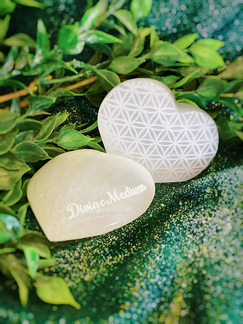 Engraved Selenite Flower of Life Heart for Divine Protective Vibration