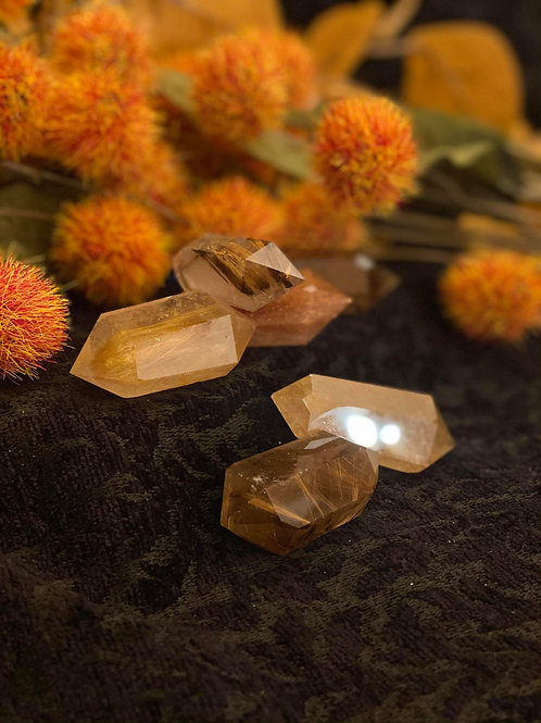 Golden Rutilated Quartz Double Terminate Mini Wand for Divine Light Energy