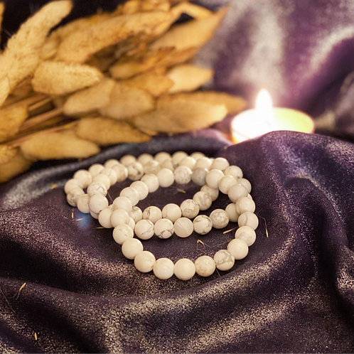 White Howlite Bead Bracelet for Holistic High Frequency Chakra Activation