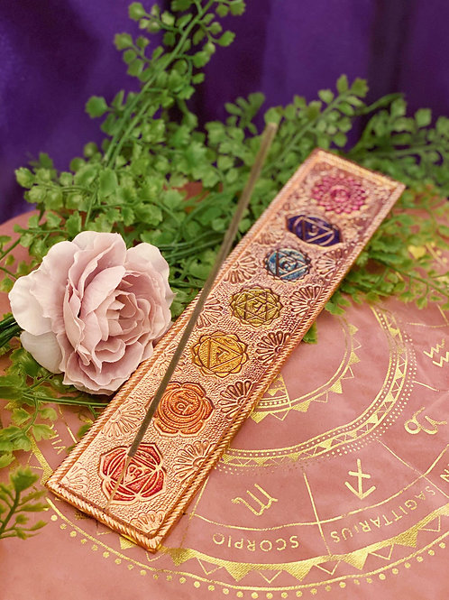Copper Chakra Incense/Crystal Plate for Balance, Healing and Beauty