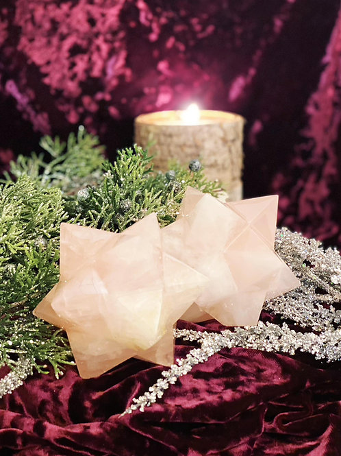 Large Rose Quartz Merkabas for Connecting to Higher Realms of Love & Peace