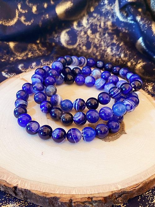 Blue Onyx Bead Bracelet for Higher Source Power & Guidance