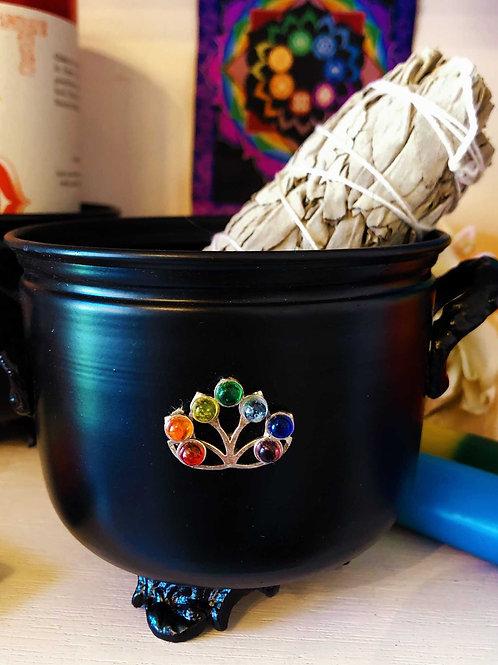 Chakra Tree Cauldron Smudge Pot