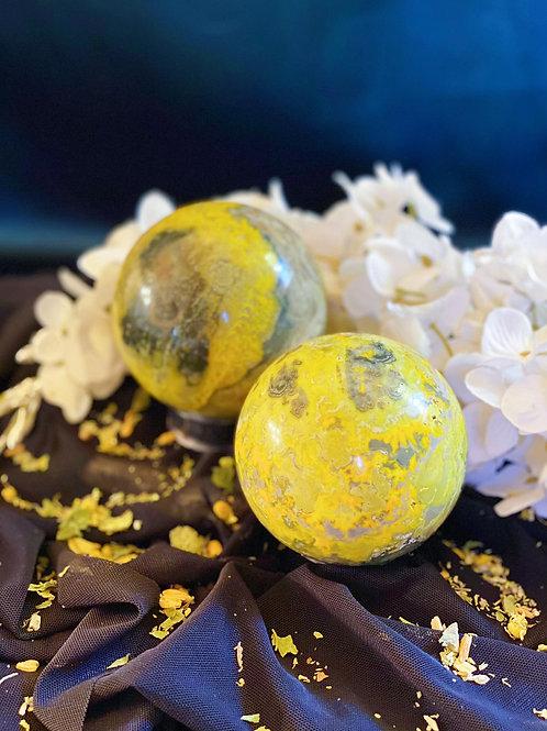 Bumblebee Jasper Large Spheres for Spirit Attunement & Golden Opportunities