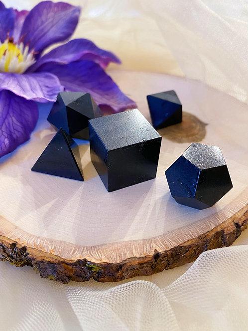 Black Tourmaline Platonic Geometric Set for Higher Conscious Connection