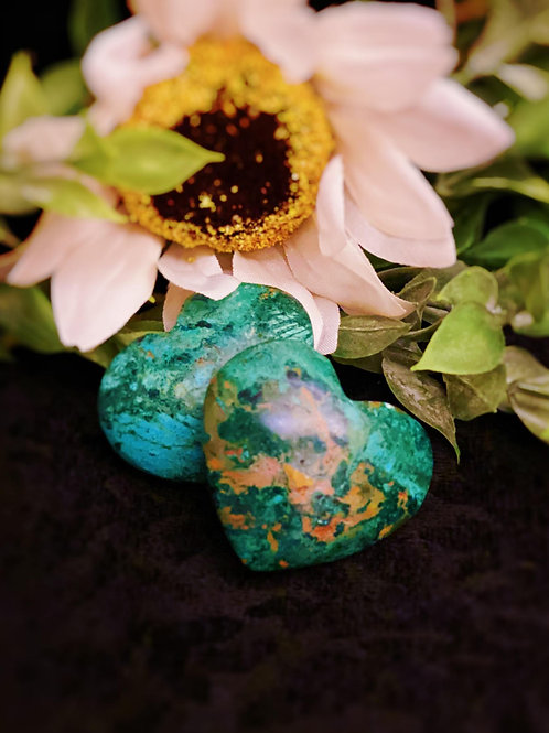 Chrysocolla Hearts for Promoting Love & Openness