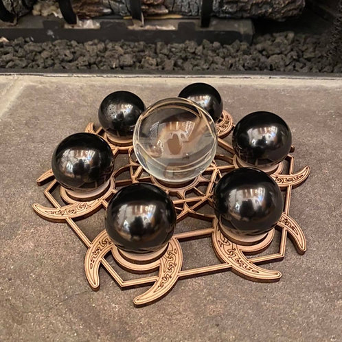 Moon Goddess Seed of Life Grid w/ Shungite or Clear Quartz Spheres