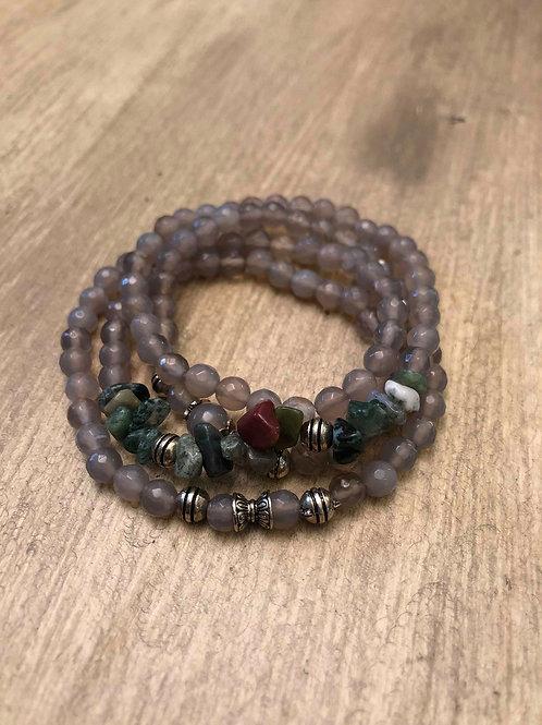 Grey Agate Mala Bracelet / Necklace