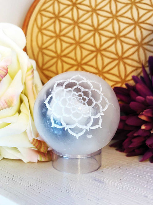 Selenite Flower of Life Sphere