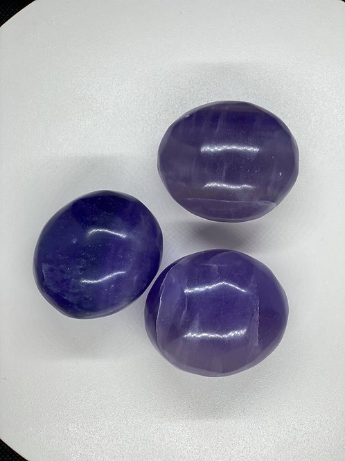 Indigo Fluorite Palm Stone for Intuitive Psychic Protection & Development