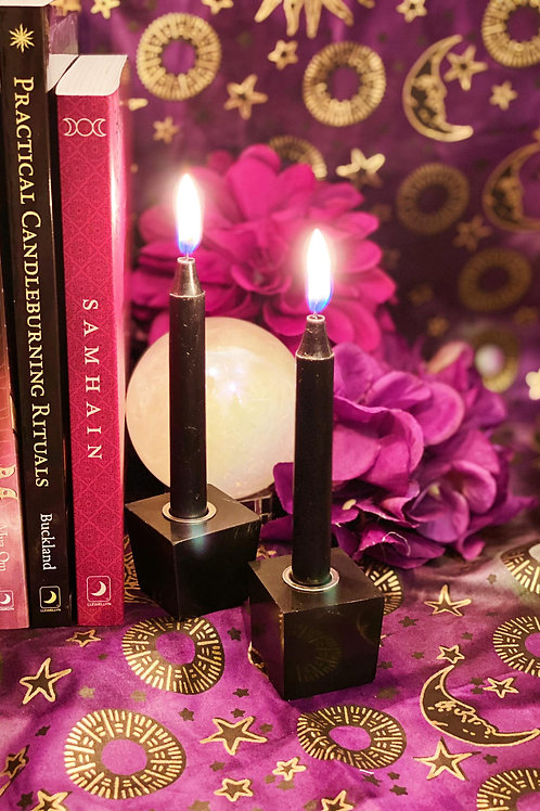 Black Tourmaline Mini Candleholder for Protective Barriers