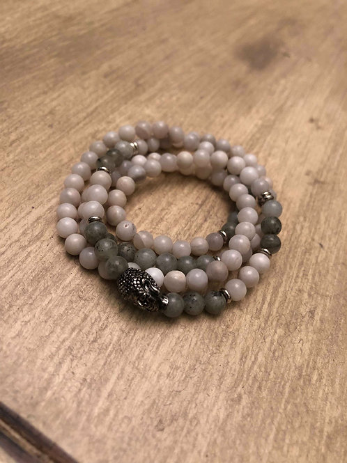 Grey Agate & Labradorite Mala Bracelet / Necklace