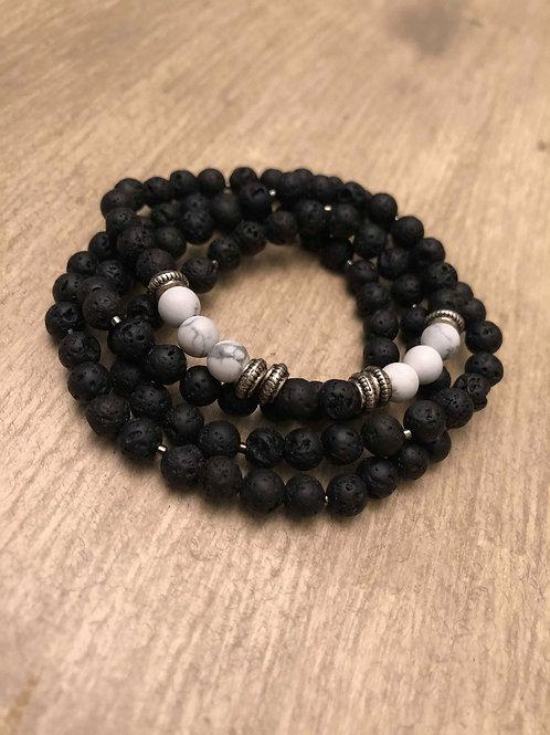 Howlite & Lava Mala Bracelet / Necklace