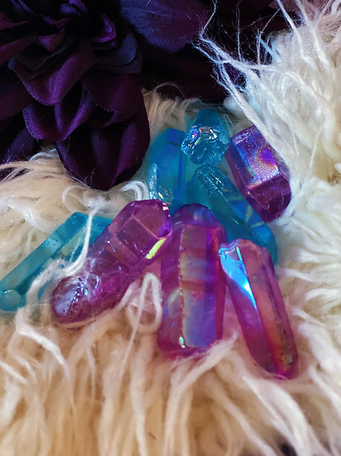 Purple & Teal Flame Aura Quartz for Quieting the Mind & Positive Thinking