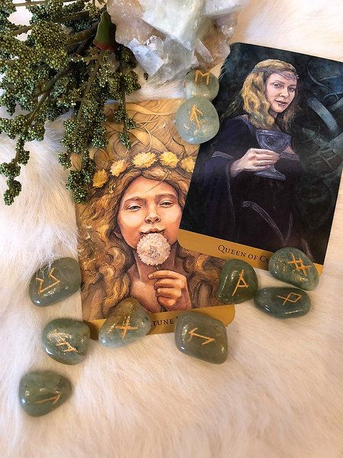 Green Aventurine Rune Set for Abundance and Health