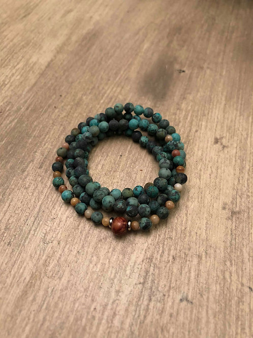 African Turquoise & Agate Mala Bracelet / Necklace