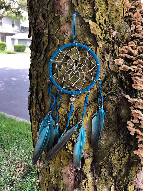Blue Feather Bead Dreamcatcher