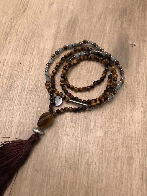 Tiger Eye & Tianshan Blue Mala Necklace