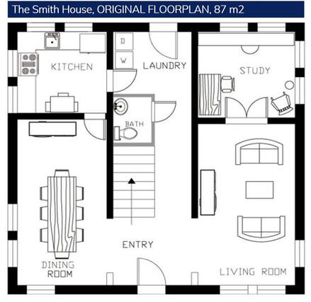 Eredeti Alaprajz, The Smith House 87m2