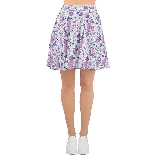 Mystical Cats Skater Skirt in Gray & Lavender
