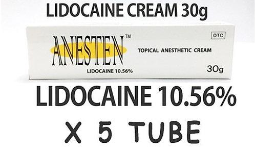 ANESTEN CREAM -5 tube! 10.56% Lidocaine Numbing Cream(30g)