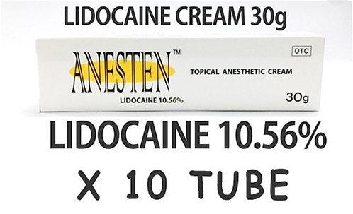 ANESTEN CREAM -10 tube! 10.56% Lidocaine Numbing Cream(30g)