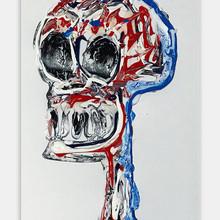 """Skull 1"" 2018 Acrilyc on illustration board 10 x 15 inches 25 x 38 cm (framed) [ SOLD ]"