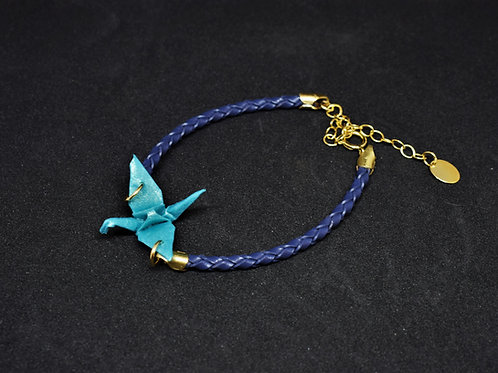 Bracelet Grue - Cuir et Gold Filled 14 Carats