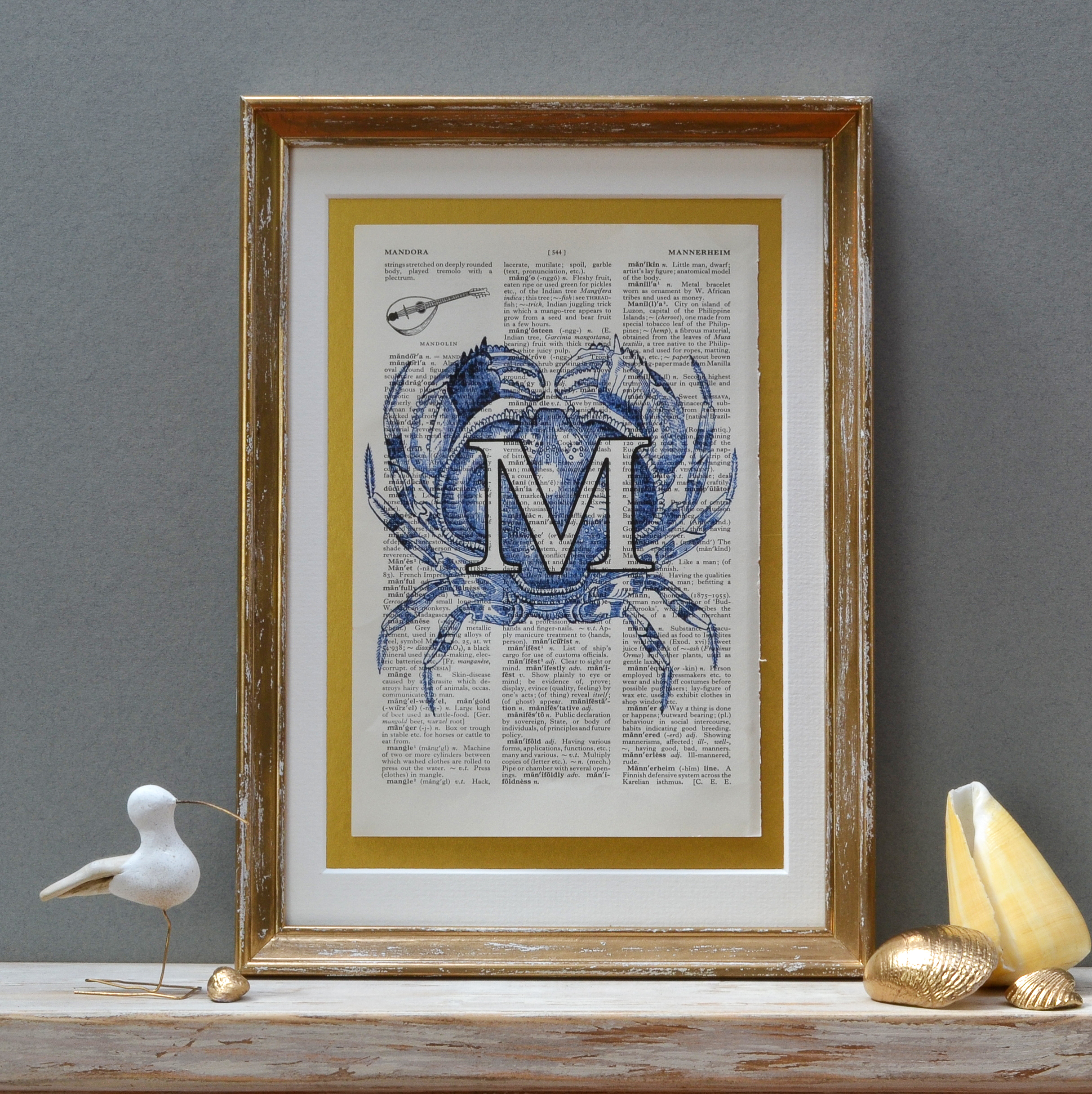 Crab Letter Print in Blue