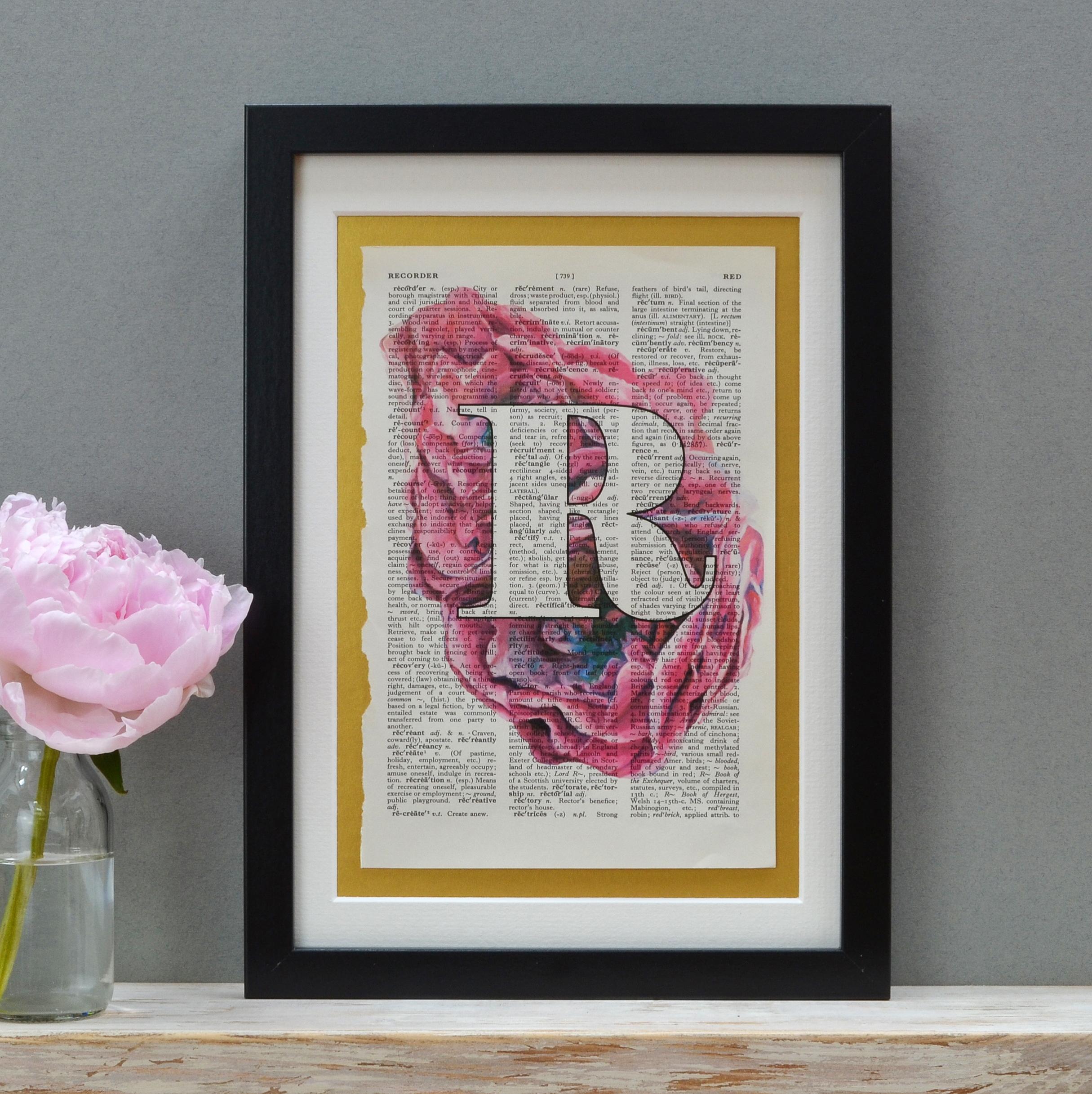 Vintage Roses Pink Letter Print