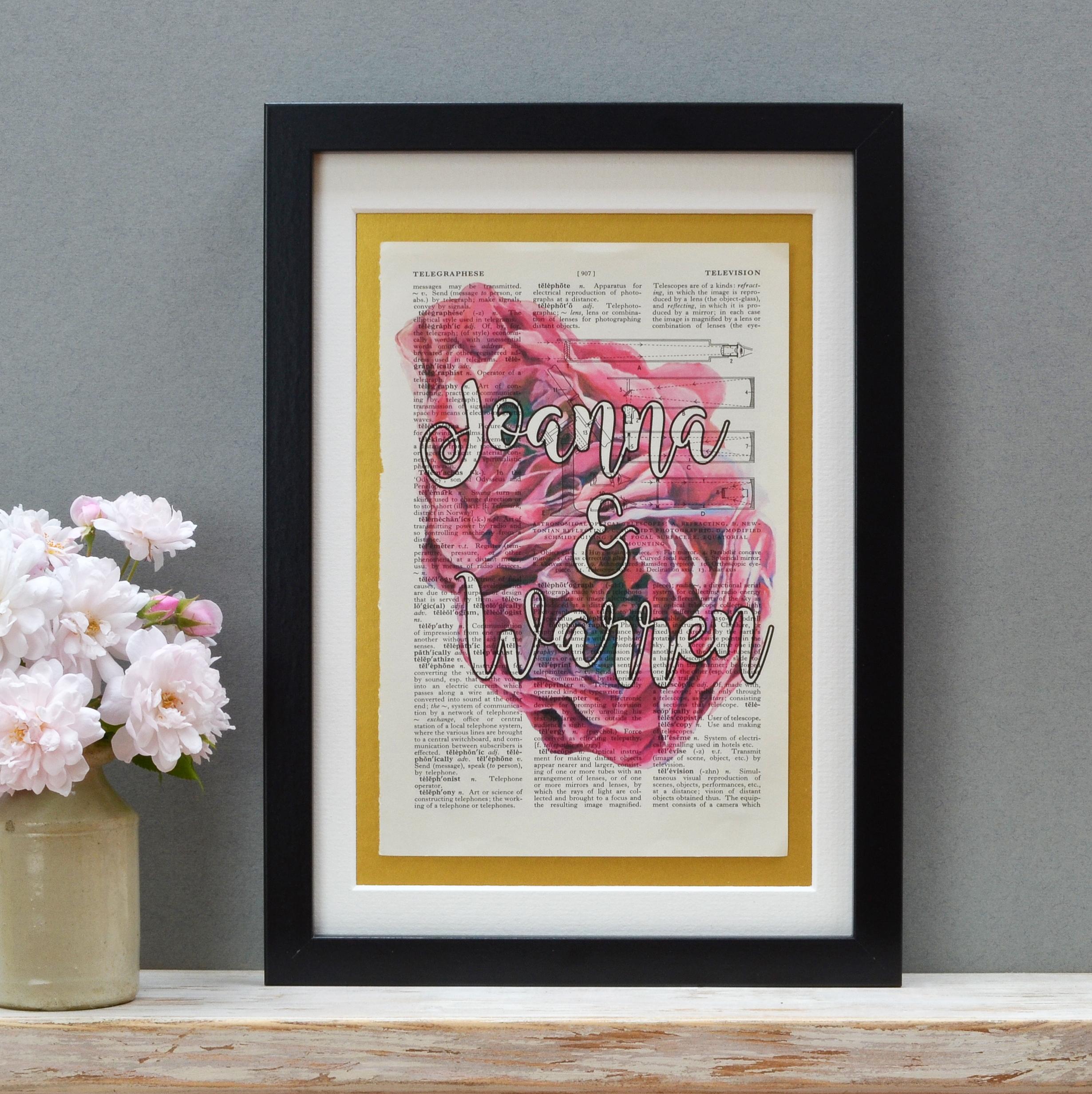 Vintage Roses Pink Two Names Print