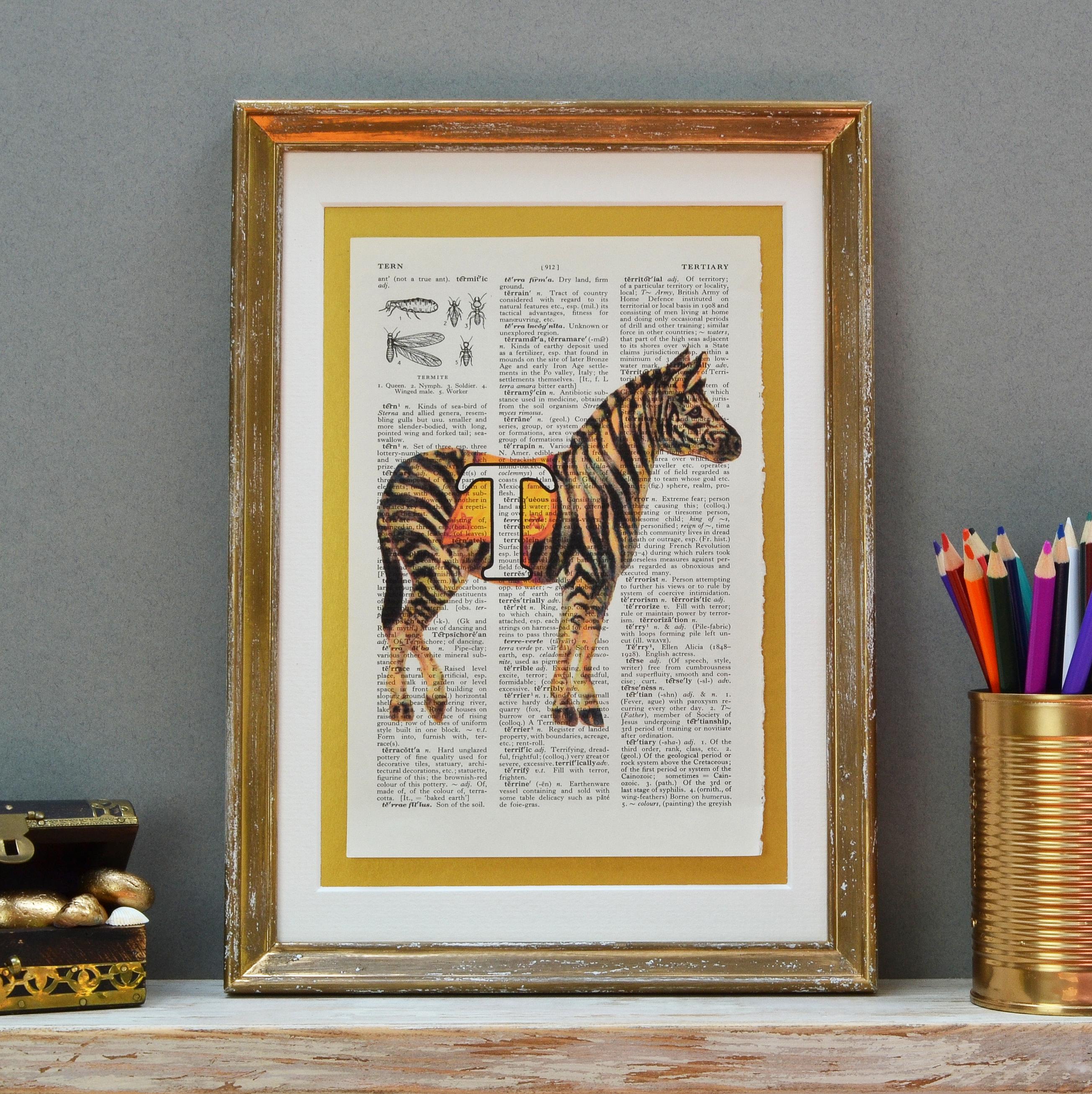Zebra Letter Print