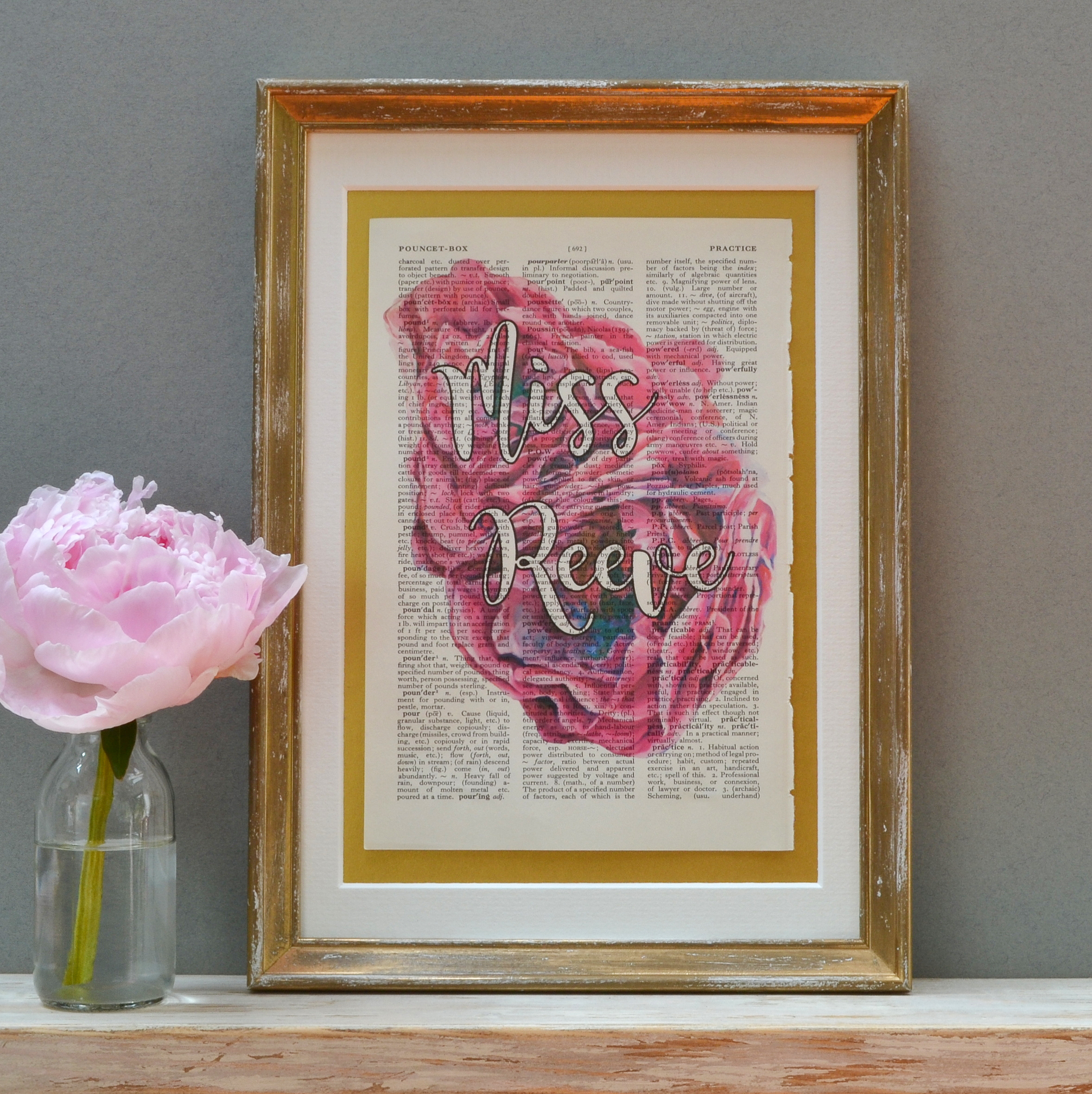 Vintage Roses Pink Name Print