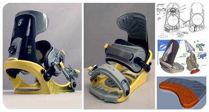 Design d'une fixation de snowboard pour la marque Salomon