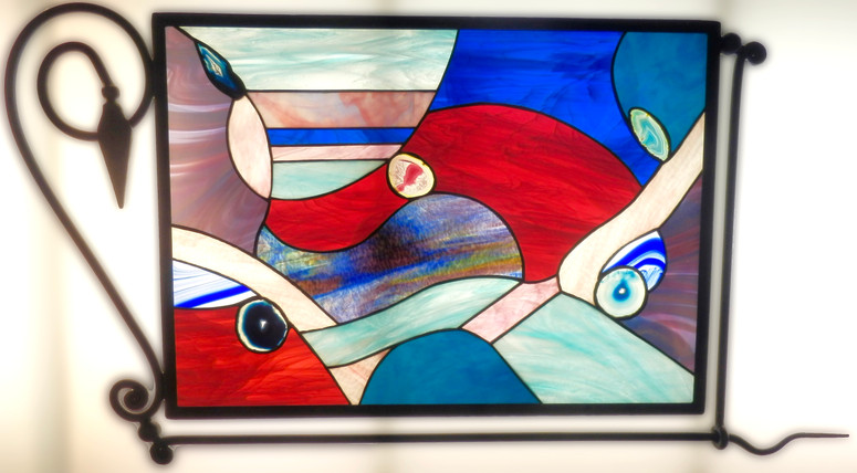 Tiffany stained glass composition in metallic frame