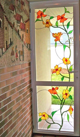 Entrance door with Tiffanty stained glass flowers