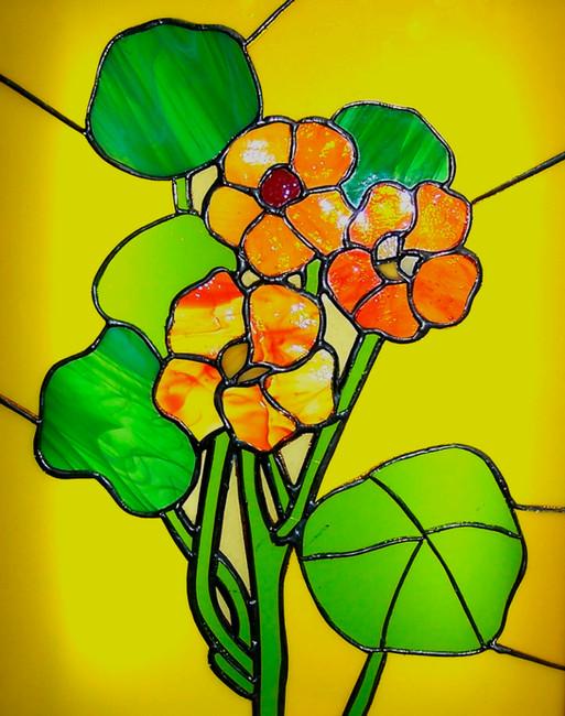 Vitrail Tiffany avec des fleurs