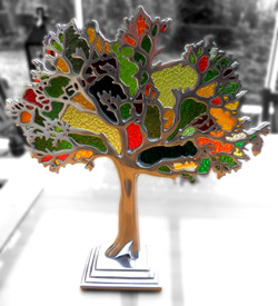 Stained glass & metal tree