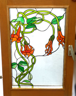 Wooden window with flowers in Tiffany