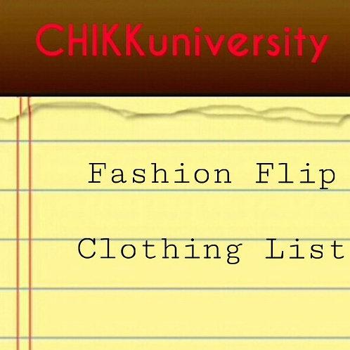Fashion Flip Clothing List