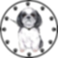 Dog in clock face clip art