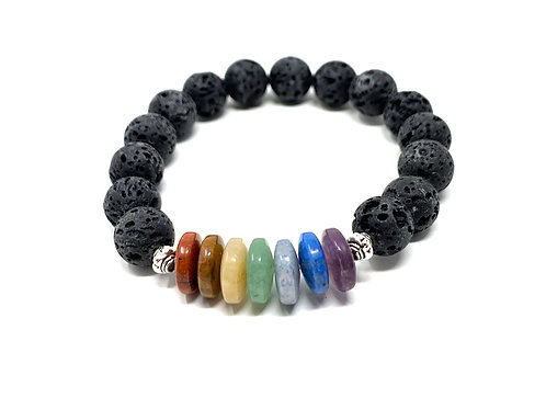 10 mm Lava /10 mm Rondell Chakra Elastic Bracelets