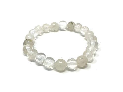 8 mm Round Crystal/Inclusion Elastic Bracelet