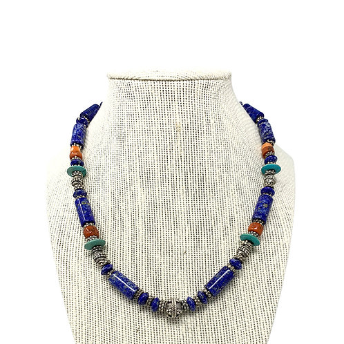 Sterling Silver Natural Lapis Tube Necklace