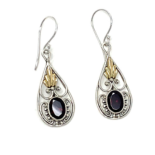 Sterling Silver & 14K Gold Dangling Earrings with Natural Oval Garnet.