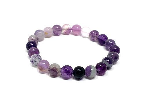 8 mm Round Purple Fluorite Stretch Bracelet